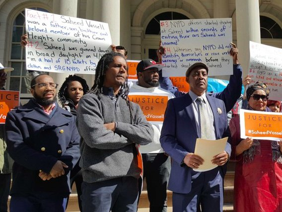 Saheed Vassel's father delivering remarks outside City Hall on Wednesday