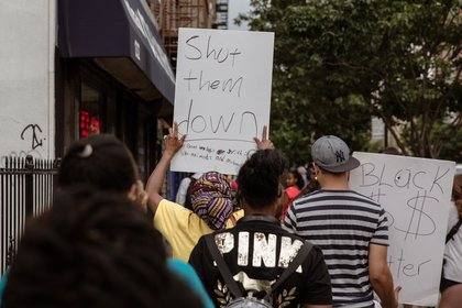 Protesters on Nostrand Avenue.<br>