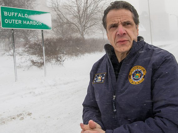 Governor Andrew Cuomo travels to closed Skyway Highway in Buffalo to view its condition and confronts truckers not adhering to Truck/Bus travel ban along the way.