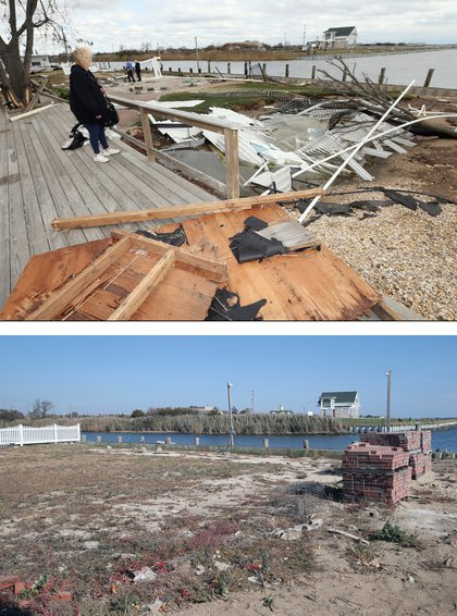 [Top] Resident Pat Lore checks out the damage caused to her home from Hurricane Sandy on the Western Concourse on October 31, 2012 in Amity Harbor, New York. [Bottom] The backyard of a home sits empty almost one year after sustaining damage from Superstorm Sandy on October 22, 2013
