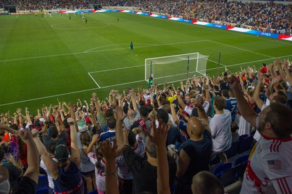 The supporters of the South Ward, mid-song. (Rob Tringali/New York Red Bulls)