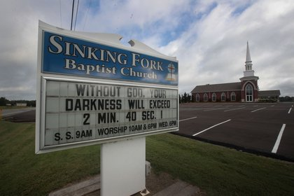 Sinking Fork Baptist Church displays a message related to the upcoming solar eclipse to motorist who pass by on the highway on August 17, 2017 in Hopkinsville, Kentucky<br>