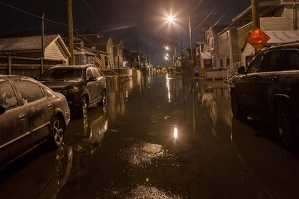 Floods on 11th Road in Broad Channel, Queens<br/>