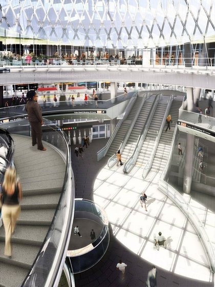 What the interior of the Fulton Transit Center will look like