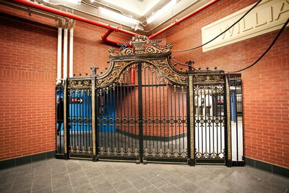 A gate, apparently also salvaged from a midtown hotel.  It now serves both a decorative and functional purpose- the other side is for fare-paying customers.