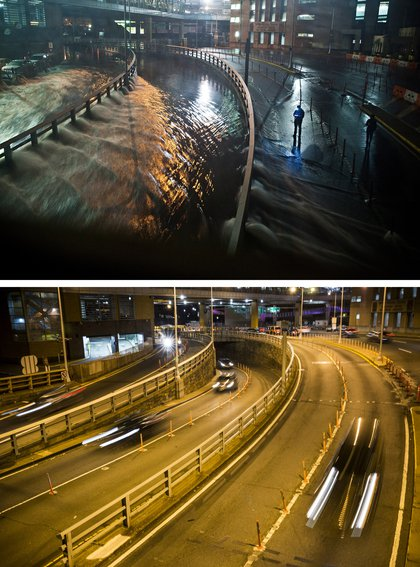 [Top] Rising water caused by Superstorm Sandy rushes into the Carey Tunnel (aka the Brooklyn Battery Tunnel) October 29, 2012 in New York City. [Bottom] Cars use the Carey Tunnel October 22, 2013 in New York City.