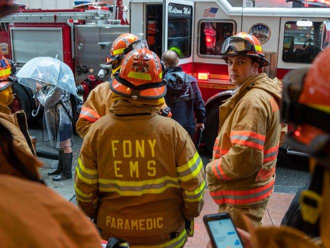 "The emergency responders outside 787 7th Avenue  (David ""Dee"" Delgado /  Gothamist)"