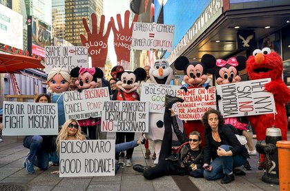 A shot from a previous day's protest outside the Marriott (Courtesy of George Day)