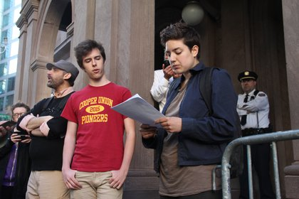 Messages of intent and support were read by both Cooper Union students and those from other city universities.
