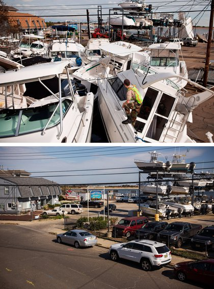 [Top] A volunteer surveys a pile of boats, which were moved by Superstorm Sandy, on November 1, 2012 in Highlands, New Jersey. [Bottom] Boats are stored at a marina in Highlands, New Jersey October 22, 2013.