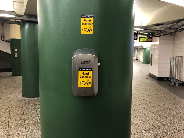 Hand sanitizer station in the subway
