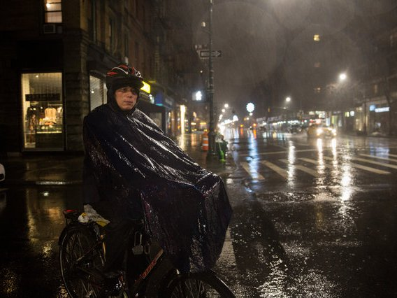 Dong Shixiang delivers food on his illegal e-bike on the Upper West Side in 2018
