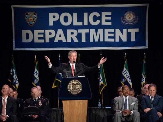 Mayor Bill de Blasio at the NYPD Police Academy Graduation last week