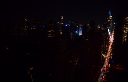 A view of Midtown Manhattan during the blackout (JD Images/Shutterstock)