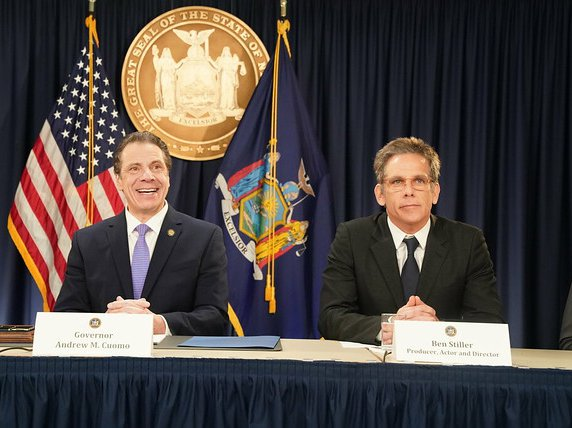 "Governor Andrew Cuomo with director/actor Ben Stiller in January. ""The Governor stood by the film and television industry over the last eight years, in supporting tax breaks and creating a lot of jobs, hundreds of thousands of jobs, for people in the film industry,"" Stiller said. ""And he really goes very far to make sure that productions come to New York."""