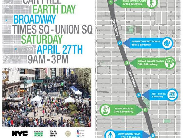 The 30-block stretch along Broadway will be rid of cars for several hours on Car Free Earth Day.