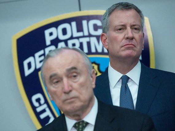 New York City Mayor Bill de Blasio and then-Police Commissioner William Bratton in 2016