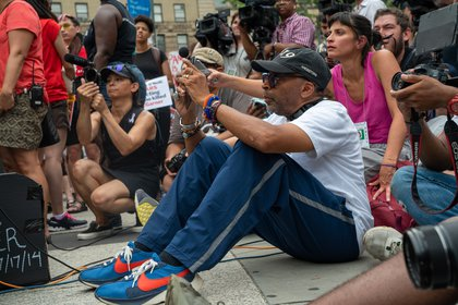 Spike Lee was among the protesters<br>