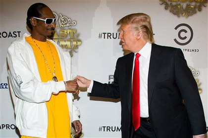 """If anyone has a great reason to hate Trump, it's black people: earlier this month, he declared proudly during an interview, """"I have always had a great relationship with the blacks."""" But thanks to his birther rhetoric, he's lost most of that alleged good will. Whoopi Goldberg called his line of questioning on Obama's birth certificate """"the biggest pile of dog mess I've heard in ages!"""" She also added, """"It's not because he's black, is it? I've never heard of any white president who had to show his birth certificate. That's BS!"""" Tracy Morgan said """"nobody got no time for Donald Trump. Go build buildings, go play with your Lego set."""" Countless others have called him a racist for asking to see President Obama's grades. Even so, he still makes for good lyrical fodder for rappers."""