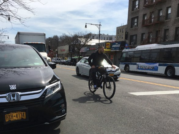 A cyclist navigates Dyckman Street last week