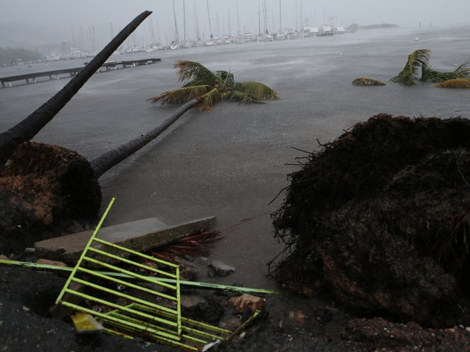 Debris is seen during a storm surge near the Puerto Chico Harbor during the passing of Hurricane Irma on September 6, 2017 in Fajardo, Puerto Rico. (Photo by Jose Jimenez/Getty Images)(Getty Images)