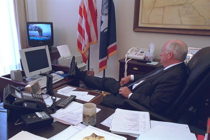 "According to FRONTLINE, ""Vice President Cheney watches as the first reports of terrorist attacks appear on television. Within minutes he would be frog-marched by Secret Service agents to the basement elevator of the White House.""<br/>"