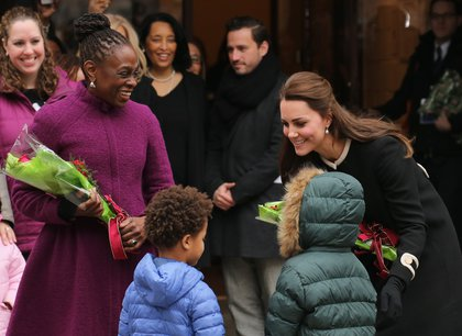 Catherine, Duchess of Cambridge (R) and New York City Mayor Bill de Blasio's wife Chirlane McCray (L) greet guests at Northside Center for Child Development<br/>