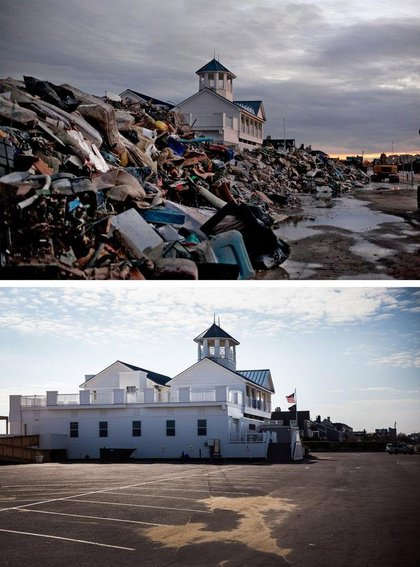 [Top] The Monmouth Beach pavilion is surrounded by debris caused by Superstorm Sandy on November 8, 2012 in Monmouth, New Jersey. [Bottom] The Monmouth Beach pavilion is shown October 22, 2013 in Monmouth, New Jersey.(Getty Images)