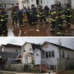 [Top] Firemen gather outside a house where the bodies of two elderly people were reportedly found on November 2, 2012 in the Midland Beach section of the Staten Island borough of New York City. [Bottom] A cat sits outside a home on October 17, 2013.