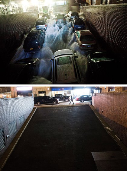 [Top] Rising water caused by Superstorm Sandy rushes into a parking garage on October 29, 2012 in New York City. [Bottom] Traffic drives past the garage (which is in use again) October 22, 2013 in New York City.