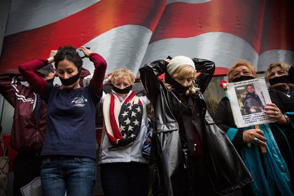 Family members of victims of the September 11, 2001 attacks, protest the decision by city officials to keep unidentified human remains of the 9-11 victims at the 9-11 Museum at the World Trade Center site