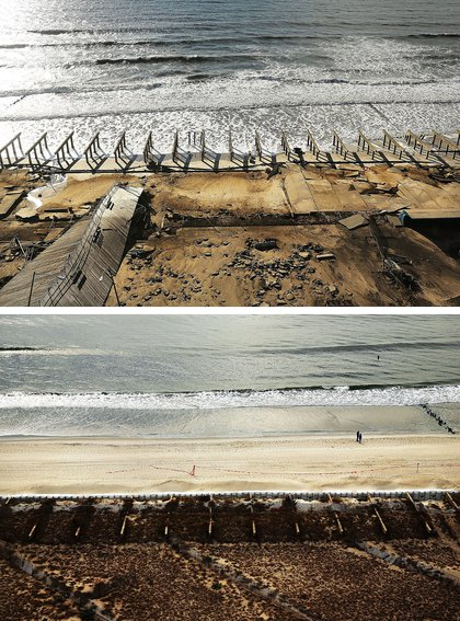 [Top] The foundations to the historic Rockaway boardwalk are all that remain after it was washed away during Hurricane Sandy on October 31, 2012 in the Rockaway neighborhood of the Queens borough of New York City. [Bottom Two people stand on the beach on October 20, 2013.