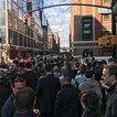 Employees leave Google in New York. (Rhiannon Corby/WNYC)