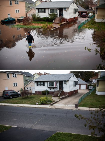 [Top] A man walks through a flooded street after Superstorm Sandy, on October 30, 2012, in Little Ferry, New Jersey. [Bottom] The same house is shown in Little Ferry, New Jersey October 22, 2013.