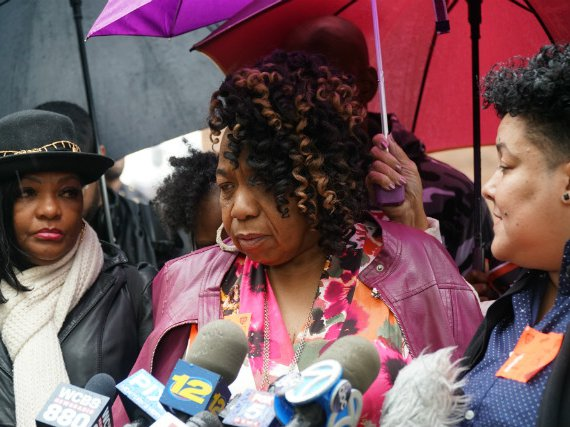 Gwen Carr, Eric Garner's mother, speaking to reporters outside police headquarters on Monday