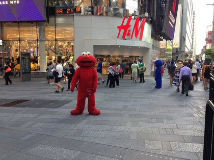 Times Square characters earlier this month (Jen Chung/Gothamist)