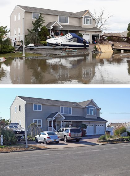 [Top] Residents of West Lido Boulevard take a break during cleanup operations following Hurricane Sandy on October 31, 2012 in Lindenhurst, New York. [Bottom] Cars sit parked in a driveway of a home on West Lido Boulevard October 22, 2013 in Lindenhurst, New York.