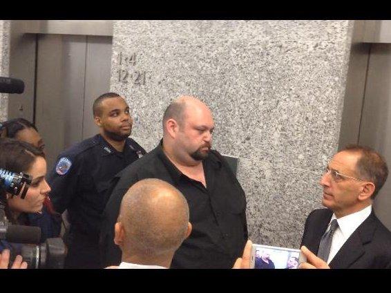 Jason Stevens outside court today