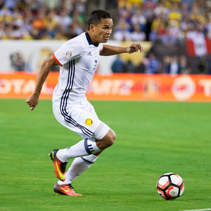 Colombia's Carlos Bacca attacks during second-half play.