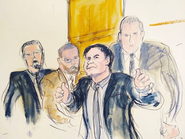 """Joaquín """"El Chapo"""" Guzmán, second from the right, giving a """"thumbs up"""" in a courtroom sketch from the February 2019 trial."""
