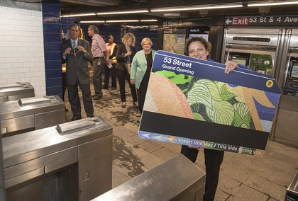 """MTA Managing Director Veronique """"Ronnie"""" Hakim at the renovated station with a MetroCard on September 8, 2017 (Patrick Cashin / MTA)"""