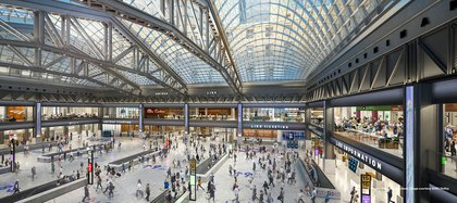 Rendering of the Moynihan Train Hall<br>