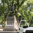 The statue is now being covered (Danielle Barnes / DNAinfo)