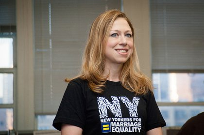 Chelsea Clinton with New Yorkers United for Marriage yesterday for a phonebank in support of marriage equality