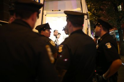 Arrests were made at 42nd and 9th Avenue  (Ellen Moynihan/Gothamist)