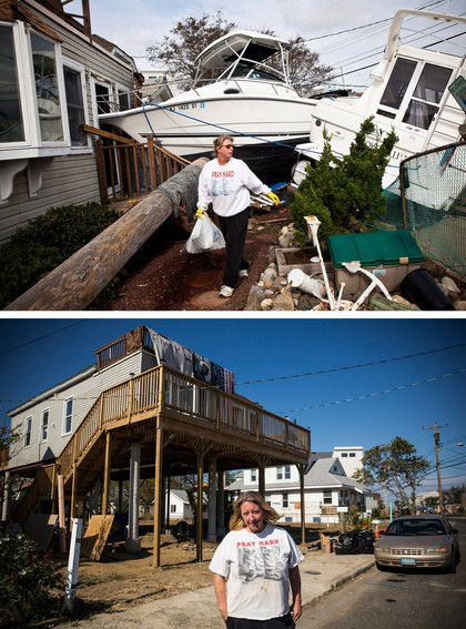 [Top] Regina Yahara-Splain cleans out her home after it was damaged by Superstorm Sandy on November 1, 2012 in Highlands, New Jersey. [Bottom] Almost one year later, Yahara-Splain poses for a portrait in front of the same home, which she has since raised on stilts to protect it from future storms, October 22, 2013.