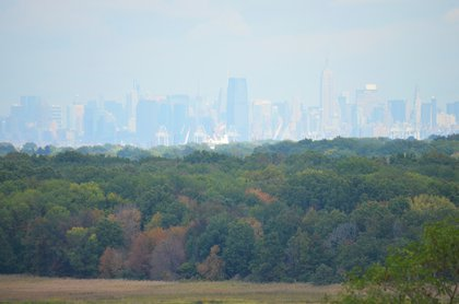 Midtown Manhattan and Jersey City as seen from the North Park area<br/>