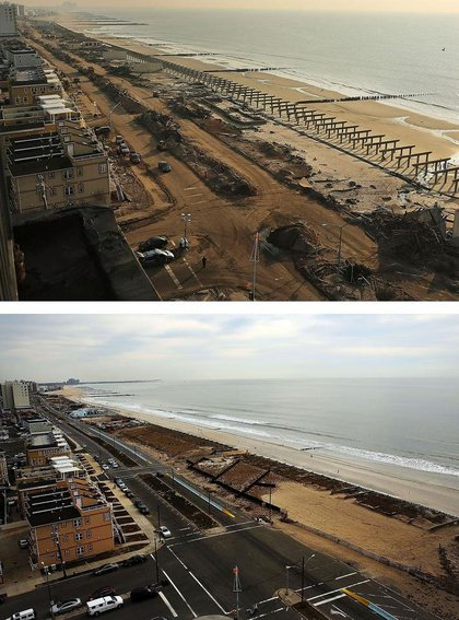[Top] Clean-up continues among piles of debris, where a large section of the iconic boardwalk was washed away November 10, 2012 in Rockaway neighborhood of the Queens borough of New York City. [Bottom] Cars sit parked on the street on October 19, 2013.(Getty Images)