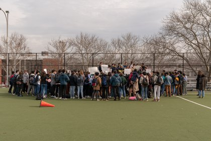 "Bronx Science high school students (<a href=""http://dispatch.nyc/"">David ""Dee"" Delgado</a> / Gothamist)"