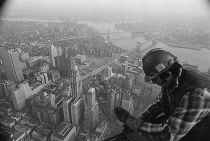 Worker atop the Twin Towers during construction, 1971. (Hulton Archive/Getty Images)